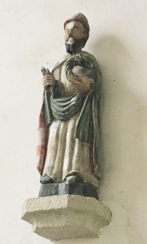 Holzstatue Heiliger Nikodemus in der Kapelle Ker Maria an Iskuit, Bretagne