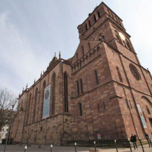 Nord- und Westfassade Thomaskirche Strassburg, Elsass