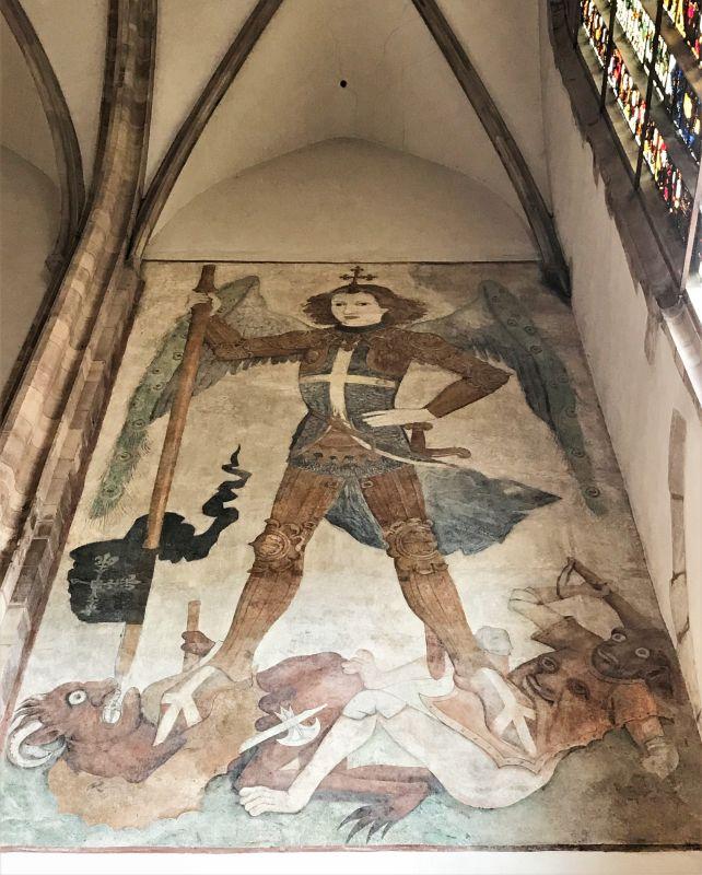 Wandgemaelde des Hl. Michael in der Thomaskirche in Strasbourg