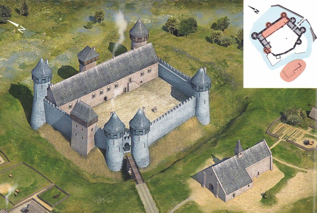 Zeichnung Schloss Suscinio Zustand 14. Jahrhundert