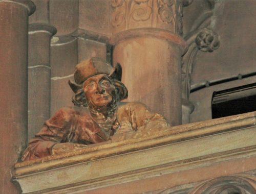 Figur des Baumeisters Hans Hammer auf der Saengerempore im Strassburger Muenster