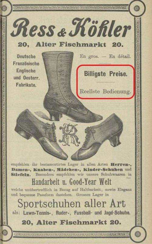 Anzeige aus dem Katalog der Industrie- und Gewerbeausstellung in Strassburg 1895