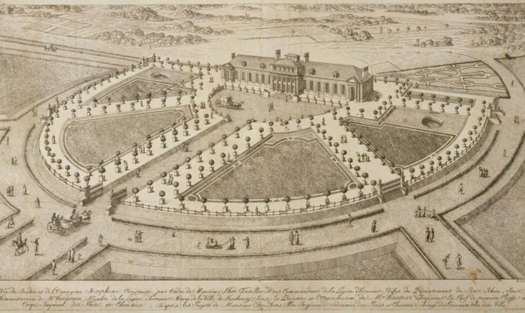 Ansicht des Parc de l'Orangerie 1806; Gravur von Benjamin Zix