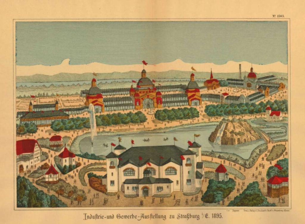 Ansicht der Industrie- und Gewerbeausstellung in Strassburg 1895