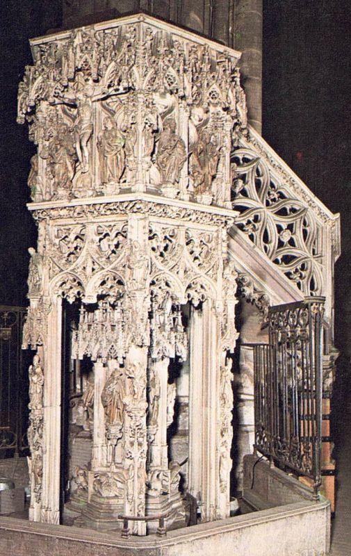 Kanzel des Johann Geiler von Kaysersberg 1840 in der Kathedrale in Strasbourg