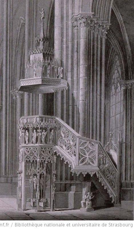 Gravur Kanzel des Johann Geiler von Kaysersberg 1840 in der Kathedrale in Strasbourg