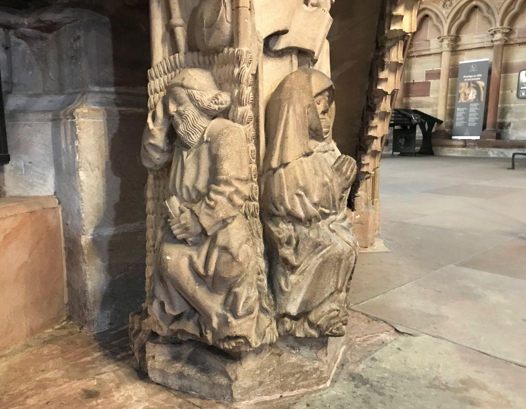 der heilige Alexius am Treppenaufgang zur Kanzel im Muenster zu Strassburg