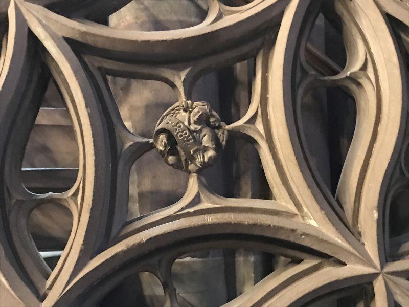 Jahreszahl 1485 an der Kanzel im Strassburger Muenster
