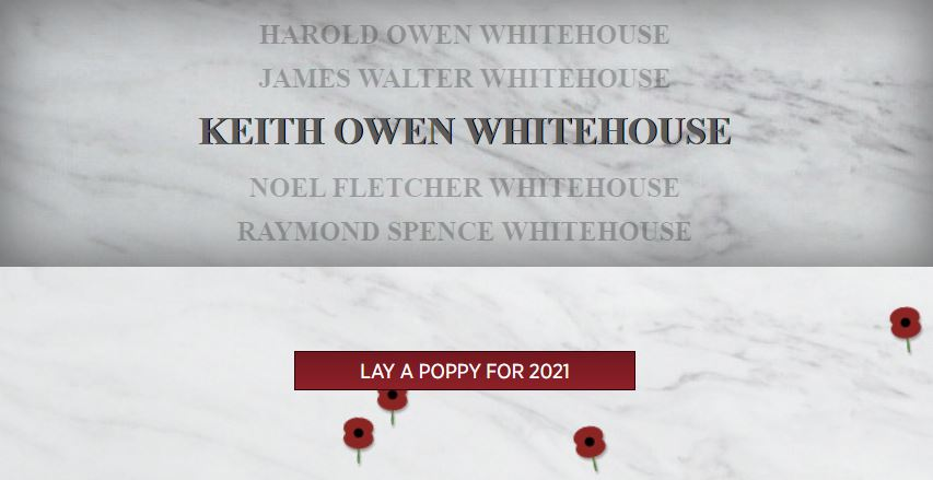 Rembrance Poppy Only Kenotaph Auckland Museum Pilot Keith Owen Whitehouse