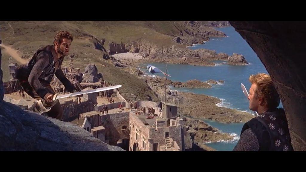 Szene aus dem US-Spielfilm Die Wikinger mit Kirk Douglas und Tony Curtis