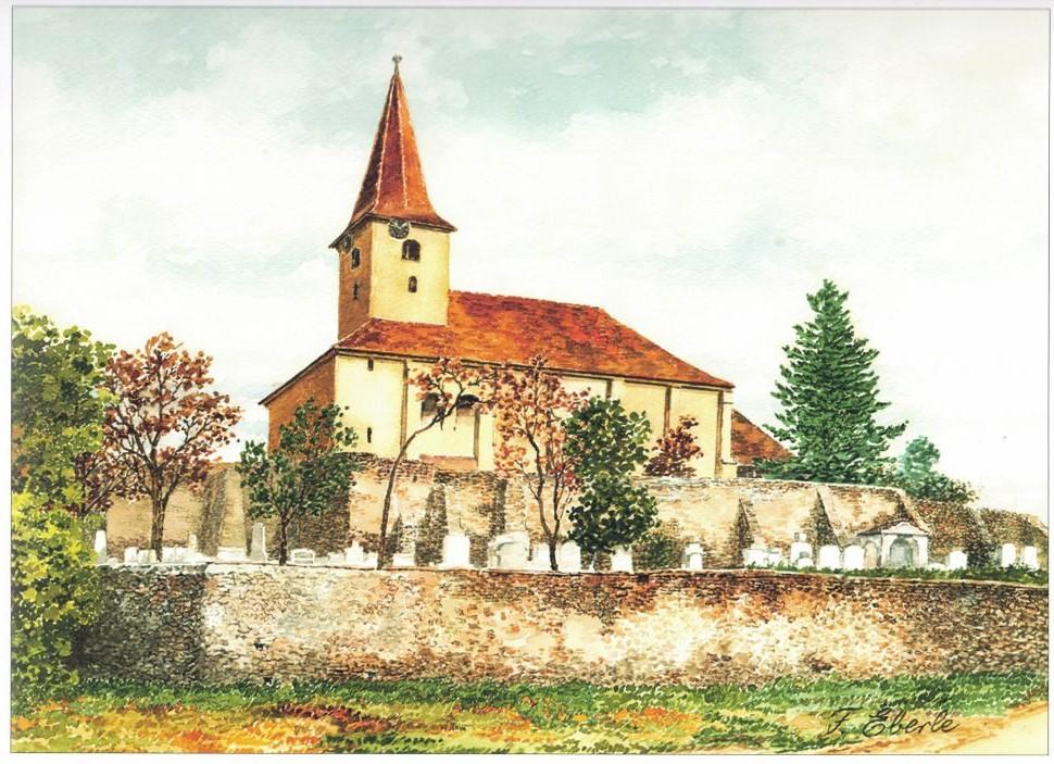 Aquarell der Kirchenburg von Dobring von Friedrich Eberle aus dem Buch Siebenbuergen in Aquarellen