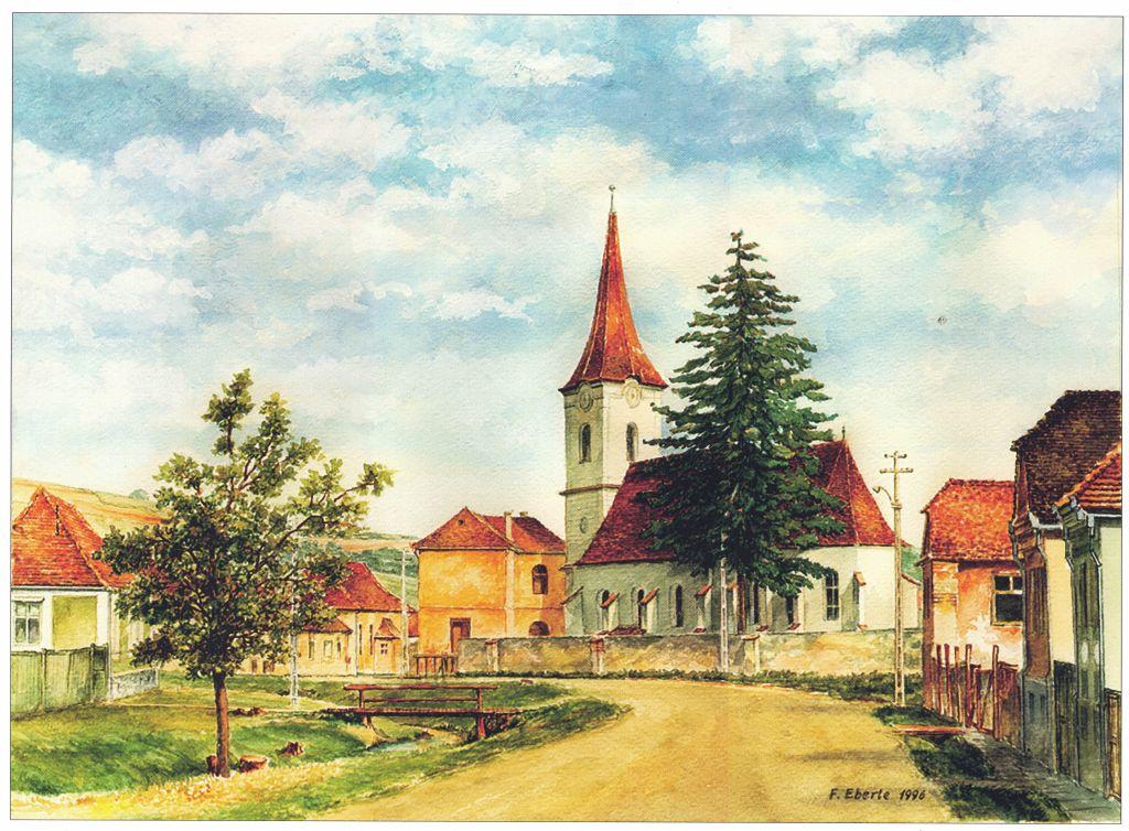 Reussdorf, Aquarell von Friedrich Eberle aus dem Bildband Siebenbuergen in Aquarellen